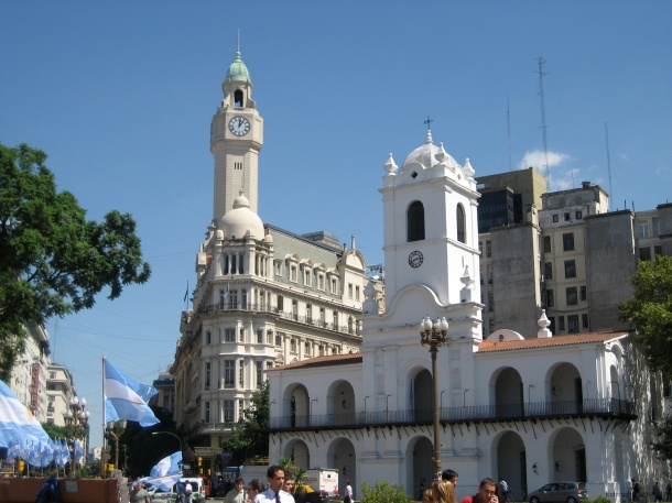 as seen from Plaza de Mayo