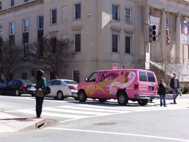 Woman and Pink Van