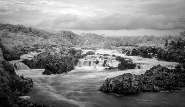 Infrared Great Falls B&W